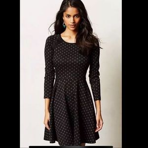 Anthropologie Weston Wear M Dress Black Polka Dot